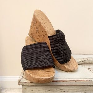 Montevideo Bay Club | Black Woven Slip on Wedges